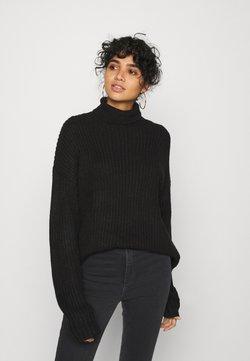 Even&Odd - BASIC- Roll neck- long line - Stickad tröja - black