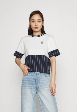 Fila - HANAE CROPPED TEE - T-Shirt print - blanc de blanc/black iris