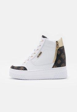 Guess - RIGGZ - Sneakersy wysokie - white/brown