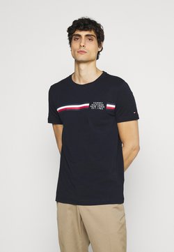 Tommy Hilfiger - CORP SPLIT TEE - T-shirt imprimé - desert sky