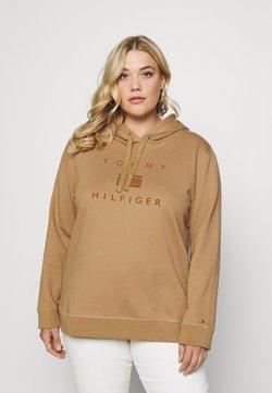 Tommy Hilfiger Curve - REGULAR FLOCK HOODIE - Sweatshirt - countryside khaki