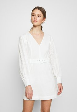 Glamorous - LONG SLEEVE BRODERIE DRESS WITH BELT - Kjole - white / black