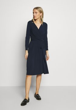 Wallis - WRAP FIT AND FLARE DRESS - Jerseykjole - navy blue