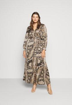 Missguided Plus - PLUS SIZE PLUNGE SNAKE PRINT - Korte jurk - brown