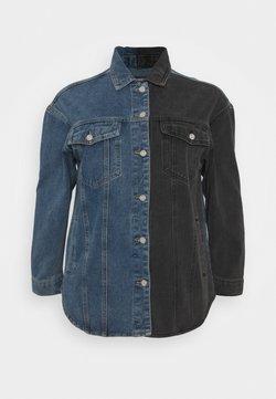 Missguided Plus - SPLICED CURVED HEM JACKET - Veste en jean - blue