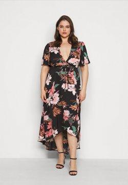 Missguided Plus - FLORAL HIGH LOW WRAP DRESS - Freizeitkleid - black