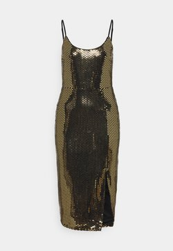 Missguided - STRAPPY GOLD SEQUIN MIDI DRESS - Cocktail dress / Party dress - black