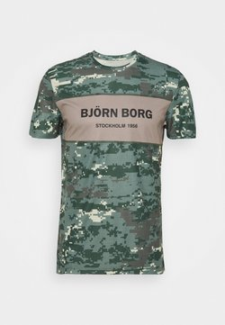 Björn Borg - BLOCKED TEE - T-shirt con stampa - duck green