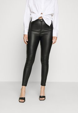 Missguided Petite - VICE HIGH WAISTED COATED SKINNY - Stoffhose - black