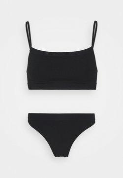 Cotton On Body - SEAMFREE STRAIGHT NECK CROP HI CUT BRASILIANO SET - Slip - black