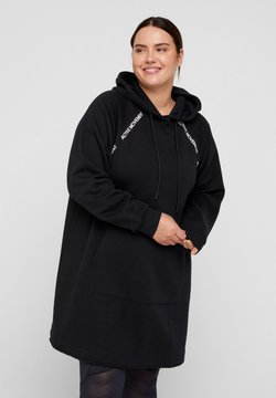 Active by Zizzi - MIT KAPUZE UND TASCHE - Vestido informal - black