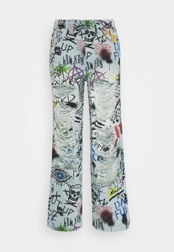 Jaded London - RIPPED GRAFFITI SKATE  - Jeans Relaxed Fit - blue