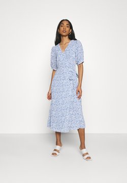 Glamorous - WRAP AROUND MIDI DRESS WITH TIE DETAIL AND SLEEVES - Kjole - blue