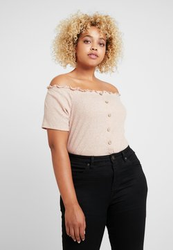 New Look Curves - SNOWY BARDOT - T-shirt con stampa - nude