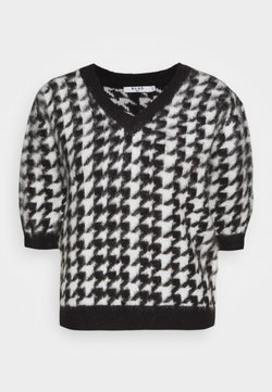 NA-KD - HOUNDSTOOTH SHORT BALLOON SLEEVE SWEATER - T-Shirt print - black/white
