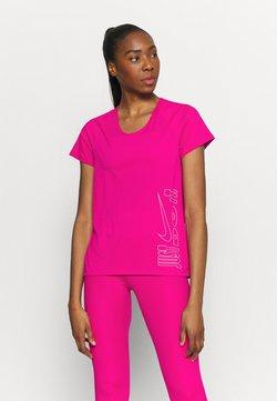 Nike Performance - ICON CLASH MILER  - T-Shirt print - fireberry/white
