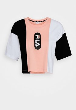 Fila - BASMA BLOCKED CROPPED TEE - T-shirt imprimé - black/bright white/coral cloud