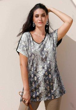 MIAMODA - T-Shirt print - beige schwarz