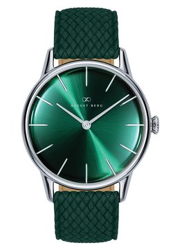 August Berg - UHR SERENITY GREENHILL SILVER DARK GREEN PERLON 32MM - Montre - sunray green