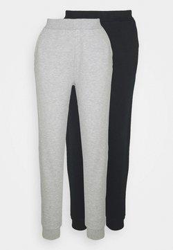 Even&Odd - 2er PACK - Basic regular fit joggers - Jogginghose - black/light grey