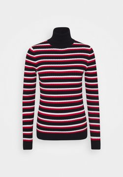Tommy Hilfiger - CABLE ROLL - Maglione - desert sky/white/primary red