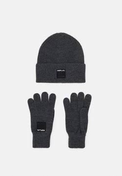 Replay - GLOVE HAT SET - Fingerhandschuh - grey melange