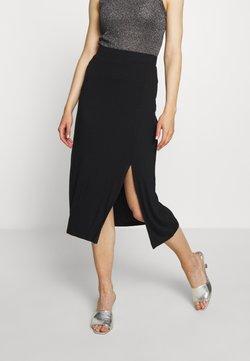 Even&Odd - Midi high slit high waisted skirt - Gonna a tubino - black