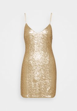 Abercrombie & Fitch - PARTY SEQUIN MINI DRESS - Cocktailkleid/festliches Kleid - gold