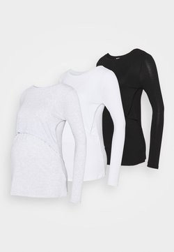 Cotton On - MATERNITY LONG SLEEVE 3 PACK - Maglietta a manica lunga - black/white/silver marle