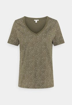 edc by Esprit - V NECK TEE - T-Shirt print - khaki