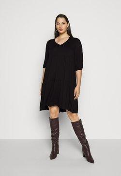Dorothy Perkins Curve - V NECK SMOCK - Sukienka z dżerseju - black