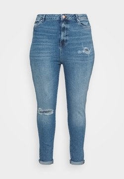 New Look Curves - RIPPED MOM HUFFLEPUFF - Slim fit jeans - mid blue