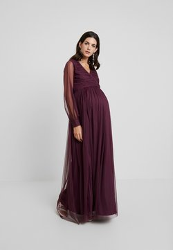 Anaya with love Maternity - LACE BARDOT WITH LONG SLEEVES - Ballkleid - burgundy