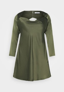 Glamorous Curve - MINI DRESS WITH LONG SLEEVES SQUARE NECK AND CUT OUT BACK - Cocktail dress / Party dress - forest green