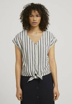 TOM TAILOR DENIM - Bluse - black beige stripe