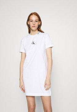 Calvin Klein Jeans - CENTER MONOGRAM DRESS - Trikoomekko - bright white