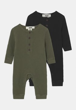 Cotton On - WAFFLE ROMPER 2 PACK - Pyjama - beetle green/black