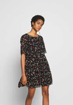 Dorothy Perkins - FLORAL TRIPLE TIER SHORT SLEEVE DRESS - Sukienka letnia - black