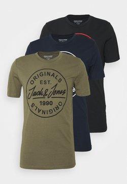 Jack & Jones - JORMORE TEE CREW NECK  BIG 3 PACK - Print T-shirt - navy