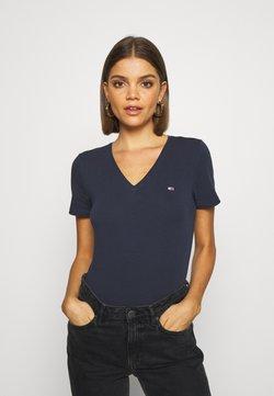 Tommy Jeans - SKINNY STRETCH V NECK - T-shirt basic - blue