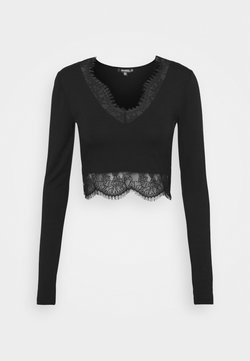 Missguided Tall - TRIM CROP TOP - T-shirt à manches longues - black