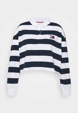 Tommy Jeans Curve - STRIPED RUGBY - Poloshirt - twilight navy