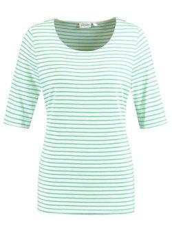 Gerry Weber - 1/2 ARM GERINGELTES - T-Shirt print - grün/ecru/weiss ringel1