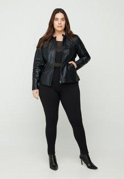 Zizzi - Veste en cuir - black