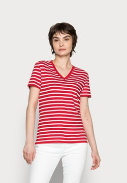 Tommy Hilfiger - NEW V-NECK TEE - T-Shirt print - red