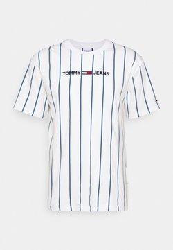 Tommy Jeans - VERTICAL STRIPE LOGO TEE UNISEX - T-Shirt print - white/audacious blue