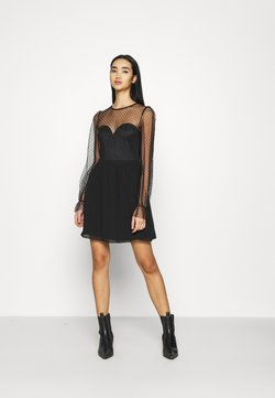 Nly by Nelly - RITZY DOT SKATER DRESS - Cocktailjurk - black