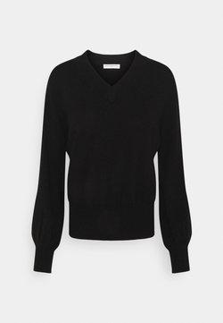 pure cashmere - V NECK BALLOON SLEEVE - Stickad tröja - black