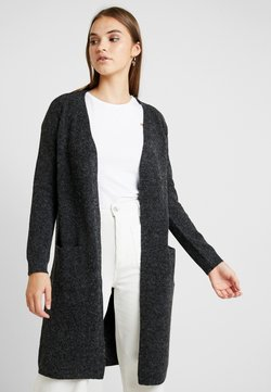 Vero Moda - VMDOFFY LONG OPEN CARDIGAN - Kardigan - black/melange