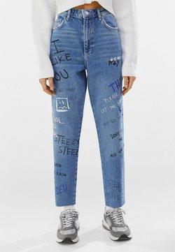 Bershka - MIT PRINT  - Jeans Relaxed Fit - blue denim